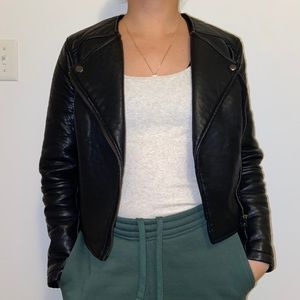 Topshop petite faux leather biker cropped jacket